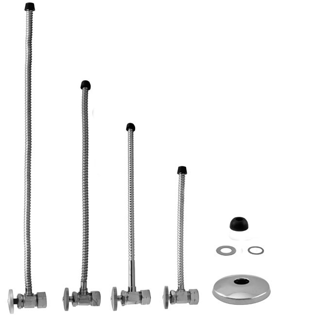 1 Piece 1 2 Comp Inlet Round Handle Angle Stop Amp Riser